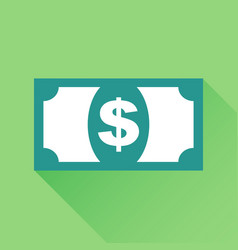 money icon in flat style dollar with long shadow vector image