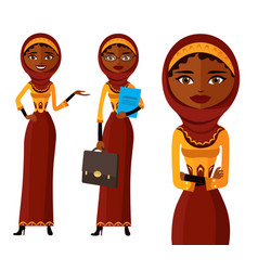 muslim arab iran business woman set flat vector image
