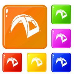 new tent icons set color vector image