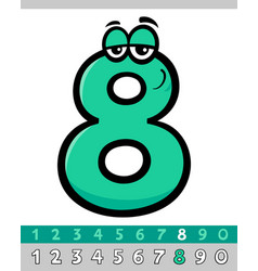 Number eight cartoon character vector