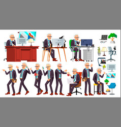 Old office worker face emotions various vector