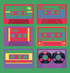 old school audio cassettes set vector image