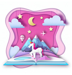 Open fairy tale book with unicorn and mountain vector