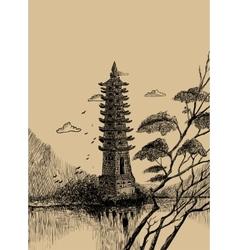 Pagoda-sketch vector