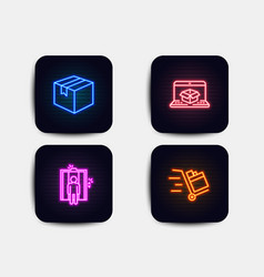 Parcel online delivery and elevator icons push vector