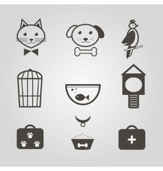 pets icons set pets shop symbols isolated vector image