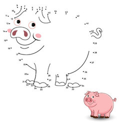 Pig Connect the dots and color vector