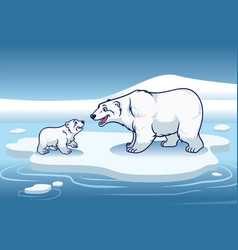 Polar bear and her cub standing in the top vector