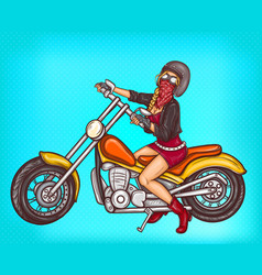 pop art sexy biker girl sitting on a vector image