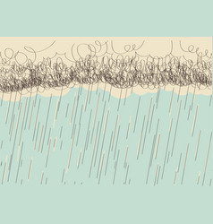 Rain hand drawn image with dark clouds in wet day vector