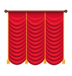 red curtains silk theatre curtain vector image