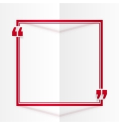Red square quote frame at white folded paper vector image