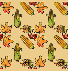 seamless pattern with corn rowan and leaves vector image