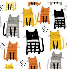 seamless pattern with cute kittens in different vector image