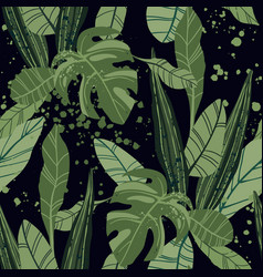 Seamless tropical pattern with exotic palm leaves vector