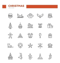 set christmas and happy new year line flat vector image