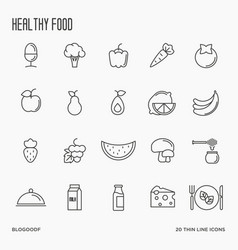 set fruits and vegetables thin line icons vector image