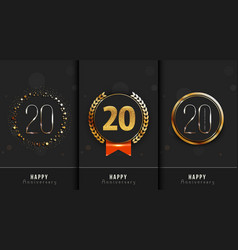 Set of 20th happy anniversary cards template vector