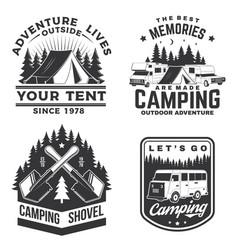 set of camping badges patches vector image