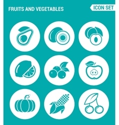 set of round icons white Fruits and vegetables vector image