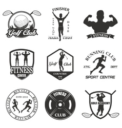 Set of vintage sports emblems vector image
