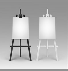 Set of wooden black white easels with mock vector