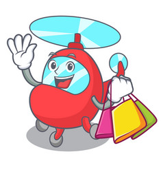 Shopping helicopter character cartoon style vector
