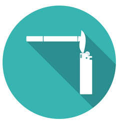 smoking cigarette flat design with long shadow vector image