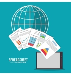Spreadsheet tablet global design vector