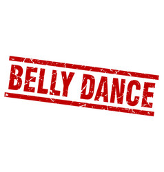 Square grunge red belly dance stamp vector