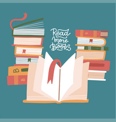 stacks books with open book knowledge vector image