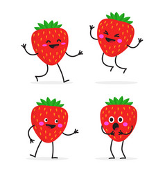 strawberry cute fruit character set vector image