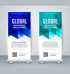 Stylish blue modern rollup banner set vector