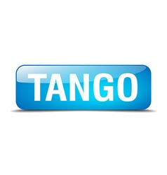 Tango blue square 3d realistic isolated web button vector