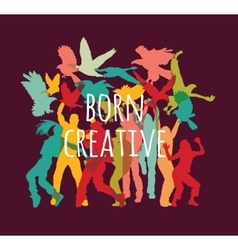 Team group happy creative people and sign vector