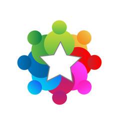 Teamwork star educational concept logo vector