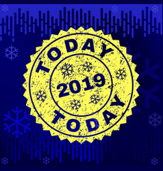 Textured today stamp seal on winter background vector