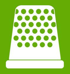 Thimble icon green vector