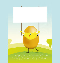 Tiny easter chicken in a spring landscape vector