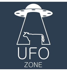 Ufo zone logo on blue background vector