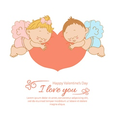 Valentines Day card with two angels vector image