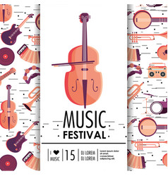 Violin and instruments to music festival event vector
