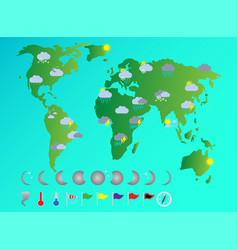 weather icons a asset with clouds rain sun vector image