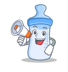 With megaphone baby bottle character cartoon vector