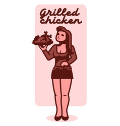 woman with a fried chicken vector image
