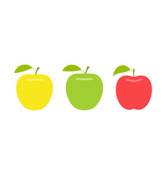Yellow green and red apple vector