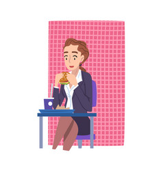 young woman in business clothes eating burger vector image