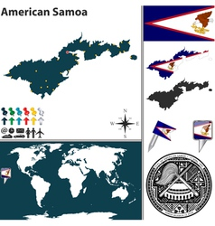 American Samoa map world vector image vector image