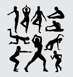 Aerobic women fitness sport silhouettes vector image