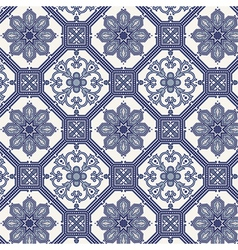 Arabesque seamless pattern in blue and grey vector image vector image